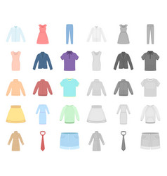 Different kinds of clothes cartoonmono icons in vector