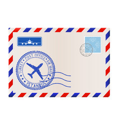 Envelope with postmark istanbul turkey vector