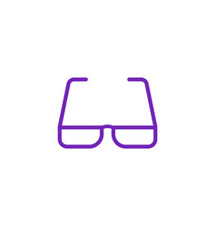 Eyeglasses with violet bezel icon in flat style vector