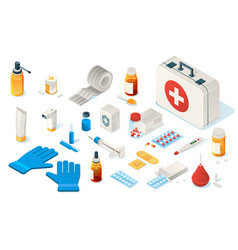 first aid kid toolsitems medical emergency box vector image