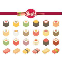flat isometric icons sushi vector image vector image