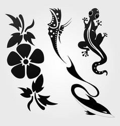 Flora and fauna pattern tribal set tattoo vector