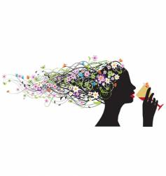 Floral head silhouette wine vector