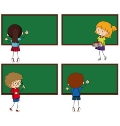 four chalkboards and students vector image