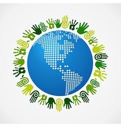 Go green diversity human hand American map vector