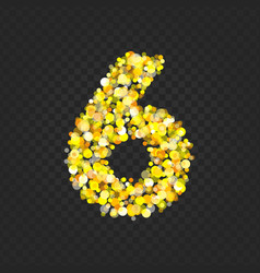 Gold glittering number 6t vector