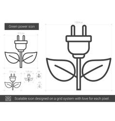 Green power line icon vector
