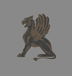 griffin engraving graphic mythical animal linear vector image