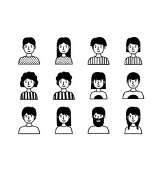 Group people avatars characters line style vector