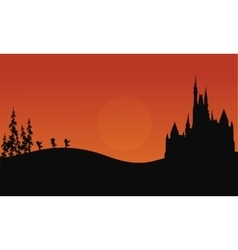 Halloween zombie and castle scary of silhouette vector