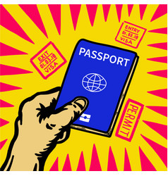 hand holding passport and visa entry stamp around vector image