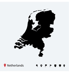 high detailed map netherlands with navigation vector image