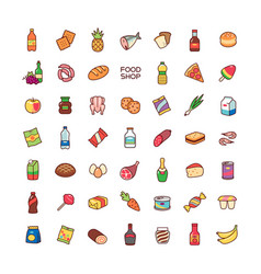 Icons food shop vector