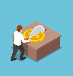 isometric businessman cut a coin in half on table vector image