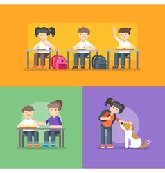 Kids at school Back to school concept vector