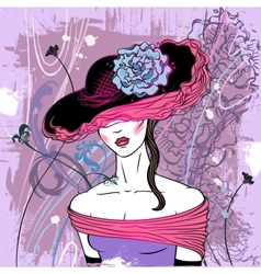 Lady in hat with flower vector image