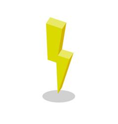 lightning electricity isometric flat yellow icon vector image