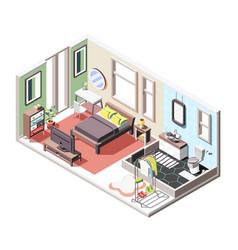 Loft interior isometric composition vector