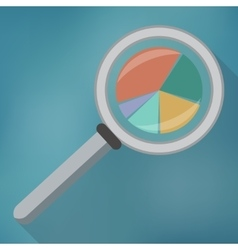 Magnifying glass icon and pie chart vector image