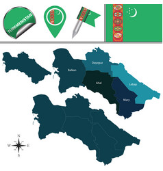 map of turkmenistan with districts vector image
