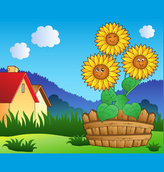 meadow with three cute sunflowers vector image