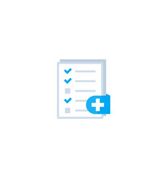 Medical test health record icon on white vector