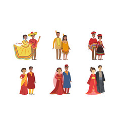 men and women dressed folk costumes various vector image