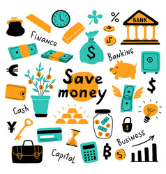 money set business symbols and financial vector image