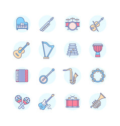 musical instruments - line design style icons set vector image