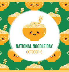 National noodle day greeting card vector