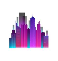 Neon city icon vector