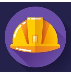 Orange construction worker helmet icon Flat vector image