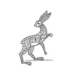 Ornate rabbit sketch for your design vector