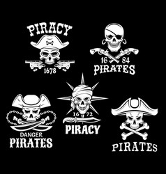 pirate jolly roger symbols or icons set vector image