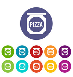 pizza badge or signboard icons set flat vector image