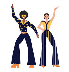 Posing disco dancers isolated on white background vector
