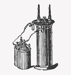 pressure accumulator vintage engraved vector image