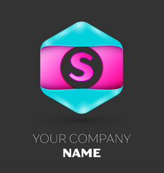Realistic letter s logo in colorful hexagonal vector