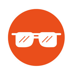 Round icon sunglasses cartoon vector