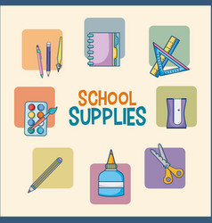 School supplies cartoons vector