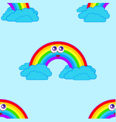 seamless patterns from a cartoon rainbow with vector image