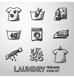 Set freehand laundry icons with - clean and vector