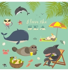 set of cute sea animals on resort vector image