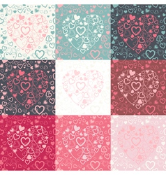 set of seamless pattern with colorful hearts vector image