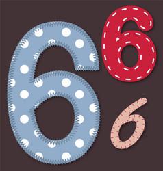 Set of stitched font - 6 Six vector