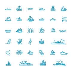 ships - set plain line design icons vector image