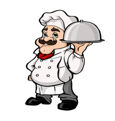 Smiling chef cartoon character holding silver vector