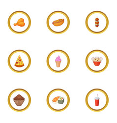 Snacks icons set cartoon style vector