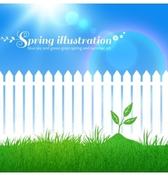 Spring background with growing sprout vector image