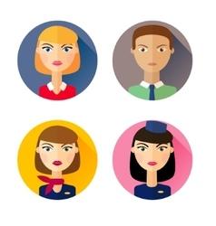 stewardess set flat style icons vector image